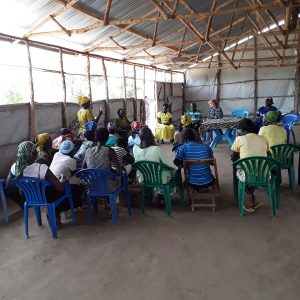 Group feedback discussions with members of the Women Hard Work group based in Palominya refugee camp.
