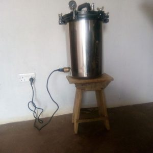 The steriliser running on power from the generator