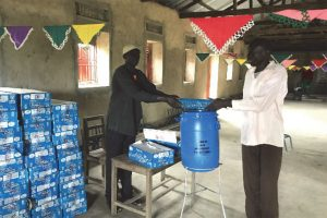 Distribution of handwashing containers and soap