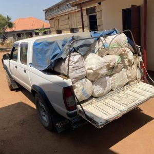 The repaired double cab loaded with mamas kits and mosquito nets