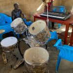 The drum set up and the piano procured for the DOL music system